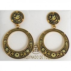 Damasacene earrings. Medieval damascene jewelry from Toledo Spain. An unique handmade jewelry production with 1000 year tradition.