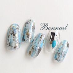 【Blue nail】 Bon Chou-Chou ボンシュシュカラージェル 【M001】ホワイト 【M016】ブルー #リフェクションフィルム…