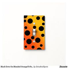 Black Dots On Blended OrangeToYellow Switch Plate Cover