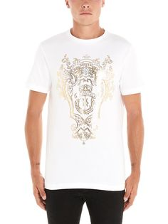 Billionaire Barocco T-shirt In White Billionaire, Mens Fashion, Cotton, Mens Tops, T Shirt, Clothes, Shopping, Style, Moda Masculina