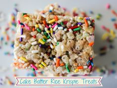 Colorful Cake Batter Rice Krispies Treats #dessert #funfetti #sprinkles | Pretty Polymath