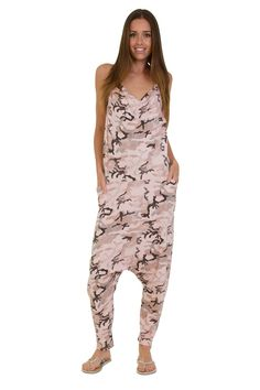 Jersey Jumpsuit - Camo Pink Drop Crotch Lightweight Stretch Relaxed Fit Playsuit for sale online Drop Crotch, Playsuit, Jumpsuits For Women, Stretches, Camo, Best Deals, Fitness, Pink, Amazon
