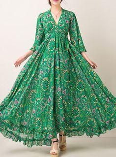 Sexy Floral Print Waist Maxi Dress