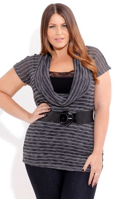 City Chic MARL COWL TOP