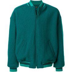 Yeezy oversized bomber jacket (€775) ❤ liked on Polyvore featuring men's fashion, men's clothing, men's outerwear, men's jackets, blue, mens oversized denim jacket, mens blue jacket and mens blue bomber jacket