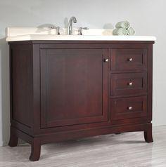 "Ziemlich Valega-Left 42"" vanity features a tobacco finish, square undermount ceramic basin, 3 soft close drawers, 1 soft close door, and a cultured marble countertop. #CabinetsToGo #bathroomvanity #bathroom"