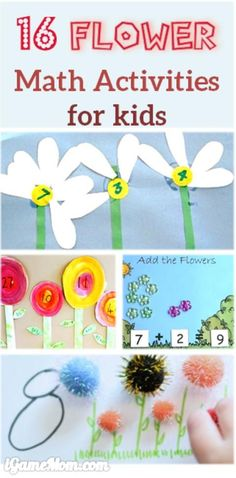 16 fun flower math activities for preschool and kindergarten kids, most will end with a flower craft, which will be a great gift idea for Mother's Day or birthday. Fun spring and summer learning activities for kids.