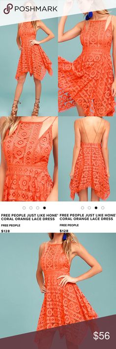 Free People Coral Dress The Free People Just Like Honey Coral Orange Lace Dress is as sweet-as-can-be! Romantic lace overlay forms this sleeveless dress with a unique, high neckline, and crochet lace princess seams. Skirt falls to a flirty length with handkerchief hem. Braided double straps and hidden back zipper/clasp. Lined. Self: 72% Nylon, 28% Cotton. Lining: 100% Rayon. Hand Wash Cold. Imported. Free People Dresses