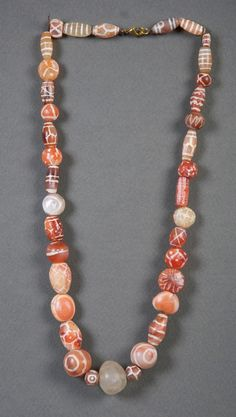 Ancient Etched Carnelian Beads Necklace