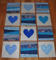 Like the shades of blue! Set of 12 BLUE Quilt Blocks Appliqued Hearts & 6 Pieced Blocks Lap Quilts, Scrappy Quilts, Small Quilts, Mini Quilts, Quilt Blocks, Heart Quilts, Quilting Projects, Quilting Designs, Sewing Projects