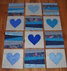 Set of 12 BLUE Quilt Blocks *6 Appliqued Hearts & 6 Pieced Blocks 14.95