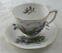 Queen Anne Scottish Tea Cup and Saucer with Heather and Thistles, Bone China