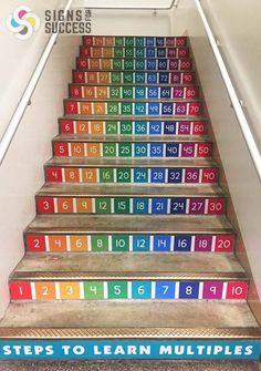 """Every school that has stairs should do this! School Hallways, School Murals, Classroom Walls, Classroom Decor, School Hallway Decorations, Math Tables, Kindergarten Design, Stair Decor, Elementary Schools"