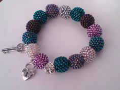 Beaded Love Bracelet - Toho - Crochet - Bead - Jewelry - Beadwork - Pink - Blue - Silver - Key - Lock