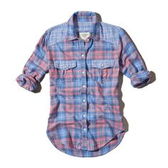Abercrombie & Fitch Dianne Shirt ($29) ❤ liked on Polyvore featuring tops, shirts, plaid, flannel, pink plaid, shirts & tops, blue button down shirt, flannel shirt, plaid button up shirts and pink flannel shirt