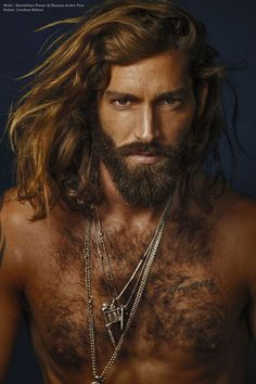 Theme:  masculine men with long hair and beards -- Maximiliano-Patane-Franck-Glenisson-07