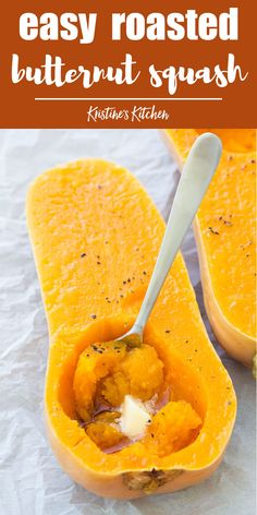 How to roast butternut squash the easy way! Two recipes for oven baked butternut squash. Serve it mashed with butter and maple syrup or roast cubes of squash with cinnamon. This is one of my favorite healthy side dish recipes for weeknights and holidays! Veggie Dishes, Vegetable Recipes, Side Dishes, Oven Roasted Butternut Squash, Butternut Squash In Microwave, Vegan Butternut Squash Recipes, Baked Squash Recipes, Butter Squash Recipe, Oven Baked