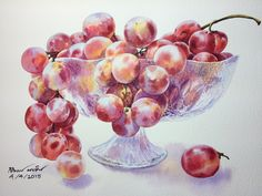 Grapes in the bowl Watercolor painting by Ti Watercolor  Size 23x30 cm.