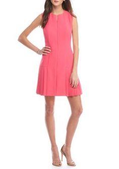 Anne Klein  Front Zip Pleated Hem Dress