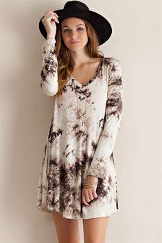 Long Sleeve Tie Dye Dress – ROUTE 32