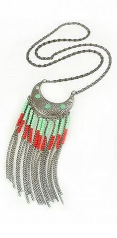Boho Chic Style Mint Green + Coral Red Tassel Decorated Silver Chain Necklace Fashion Jewelry  #Silver #Coral #Turquoise #Bohemian #Style #Fringe #Necklace #Summer #Fashion #Jewelry #Accessories