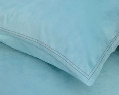 #ButterflyDreams Island Blue fitted sheet & pillowcase with brown stitch details #kidsbeddings in single / twin / double