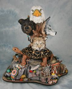 Cake and Sugar Sculpture by The Food Artist Group's very own, Kim Simons! Eagle, Bear and Wolf Oh My! Edible, Food Art!