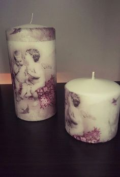 Decoupage candle Angeles For your wedding by EvasAntiqueBoutique