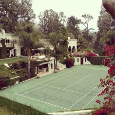 """Classy Golden Era on Instagram: """"You want to turn your back garden into a little paradise, put a tennis court."""" Outdoor Spaces, Outdoor Living, Bocce Ball Court, Building A Porch, Tennis Clubs, House With Porch, Ideal Home, My Dream Home, Beautiful Homes"""