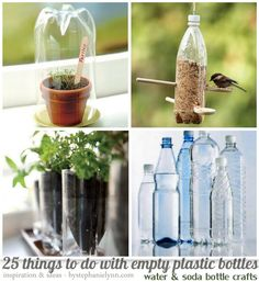 25 Uses of Empty Plastic Bottles (Water & Soda Bottle Crafts ~ Many of these projects require little time and only a pair of scissors...and of course the repurposed bottles are free!  I love all the garden crafts but they have Plastic Bottle Fireflies {made with a glow stick} and I need to make those for for the kids... summer will be coming sooner or later.
