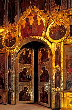 Iconostasis door. Central door in the 17th century iconostasis of Suzdal's Nativity Cathedral. Among the icon-painters was Grigory Zinovyev, one of the tsar's most gifted artists. The iconostasis separates the nave from the sanctuary in an Orthodox church. Photo Mick Palarczyk.