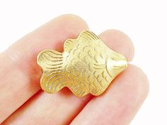 2 Large Fish Bead Spacers  22k Matte Gold Plated by LylaSupplies, $5.30