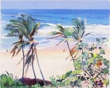 Flying Kites at Bathsheba - An oil paint print by Jill Walker of the east coast of Barbados with people flying kites.