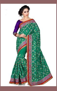 Green Color Manipuri Silk Saree with Deep Blue Blouse