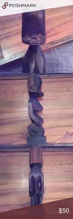 """13"""" Authentic African fertility goddess Hand carved 13"""" wood statue friend brought back from Africa in the 70's; was told it was a fertility goddess...I'm not superstitious but if you don't want to get pregnant..don't buy it!!! I am serious!! Ask my sister!! Other"""