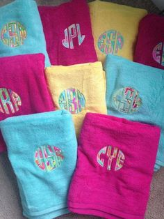 Lilly Pulitzer Fabric Monogrammed Towels