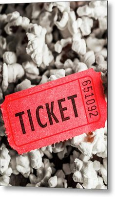 Popcorn Metal Print featuring the photograph Event Ticket Lying On Pile Of Popcorn by Jorgo Photography - Wall Art Gallery