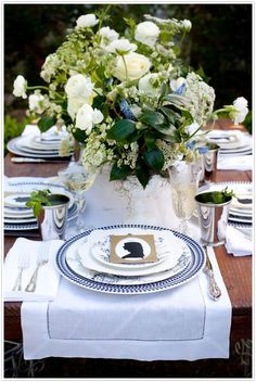 beautiful table setting in blue and white