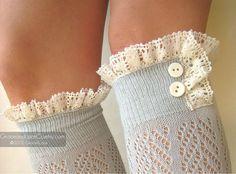 Lacey Dainty Sock Dove Grey openknit socks par GraceandLaceCo