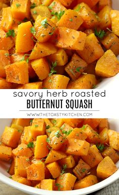 Savory Herb Roasted Butternut Squash by The Toasty Kitchen Oven Roasted Butternut Squash, Acorn Squash Recipes, Baked Squash, Recipe For Roasted Butternut Squash, Butternut Squash Casserole, Veggie Dishes, Vegetable Recipes, Side Dishes, Kitchens
