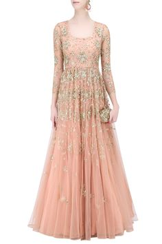 Description Featuring a peach flared anarkali gown in net with gold sequins floral work all over. It has a can can underlayer.