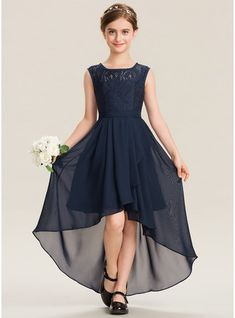 A-Line Scoop Neck Asymmetrical Chiffon Lace Junior Bridesmaid Dress With Bow(s) Cascading Ruffles Spaghetti Straps Split Side Long Bridesmaid Dresses Girls Bridesmaid Dresses, Blue Wedding Dresses, Dresses Kids Girl, Bridal Dresses, Flower Girl Dresses, Prom Dresses, Wedding Gowns, Dress With Bow, Lace Dress