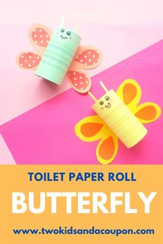 Help your kids create cute and creative creations with this toilet paper roll butterfly craft for kids. Here's how to make them! Cute Kids Crafts, Crafts For Kids To Make, Art For Kids, Simple Crafts, Toddler Crafts, Toilet Paper Roll Crafts, Paper Crafts, Summer Arts And Crafts, Glue Crafts