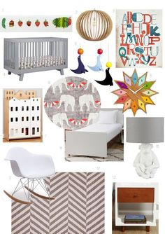 Kids Style Board: A Retro-Mod Room for Two   Apartment Therapy featuring the Oeuf Elephant crib http://www.shoptadpole.com/Oeuf-Elephant-Crib.html