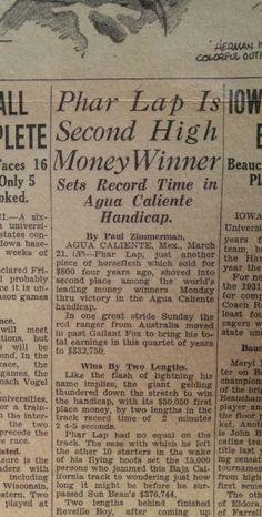 MAR 21, 1932 NEWSPAPER PAGE #J5412- PHAR LAP HORSE RACING + BABE HERMAN BASEBALL