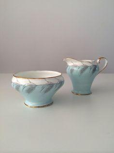 1950s Aynsley Bone China Blue Wheat Cream Jug & by celineandluna