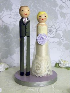 Custom Clothespin Wedding Cake Topper by Doodles & Things on Etsy