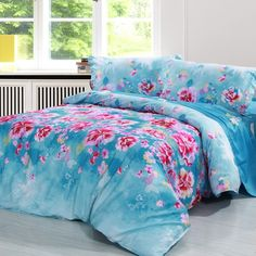 Cornflower Blue and Pink Oriental Garden Petal Print Flower Print Butterfly Print 100% Cotton Twin, Full, Queen Size Bedding Sets