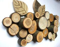 muurdecoratie met houtschijven
