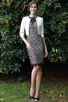 eDressit Schwarz Weiß Knielang Kleid für die Brautmutter (26170900)